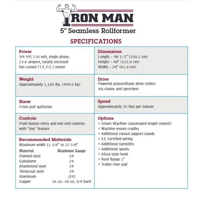 KWM Gutterman IronMan 5 Inch Gutter Machine - 7000